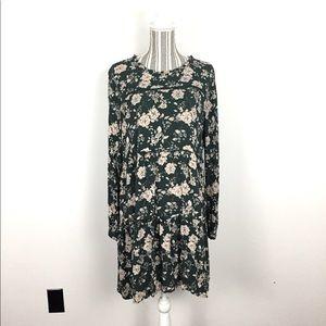 Knox Rose L green floral print long sleeve dress